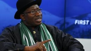 Le président du Nigeria Goodluck Jonathan, présent au Forum de Davos, le 22 janvier 2014.