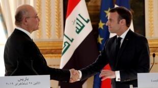 法國總統馬克龍在巴黎會晤伊拉克總統薩利赫。