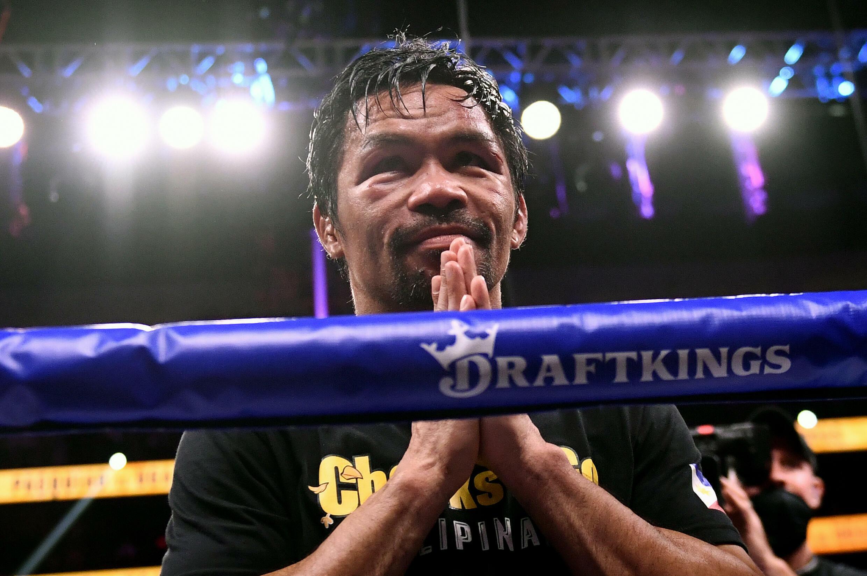 Le Philippin Manny Pacquiao après sa défaite contre le Cubain Yordenis Ugas le 21 août 2021 à Las Vegas