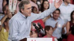 Jeb Bush, exgobernador de Florida, anunció oficialmente su campaña por la candidatura republicana a las elecciones presidenciales de 2016, Miami, 15 de junio de 2015.