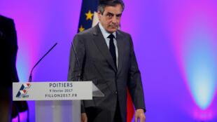 Poitiers, le 9 février 2017. François Fillon, candidat «Les Républicains» à la présidentielle, a dénoncé, lors d'un meeting «l'attaque impitoyable», dont il serait l'objet.
