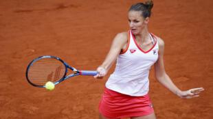 La Tchèque  Karolina Pliskova lors de son match contre l'Egyptienne Mayar Sherif, à Roland-Garros, le 29 septembre 2020