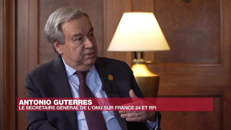 Le secrétaire général de l'ONU Antonio Guterres, le 9 février 2020, lors de son entretien pour RFI et France 24.