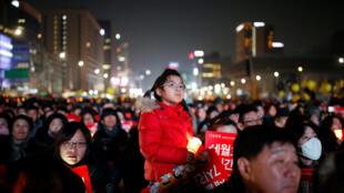 1月7日韓國不滿總統樸槿惠的抗議人士
