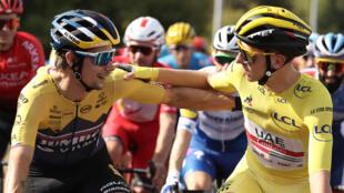 Slovenians Primoz Roglic (L) and Tadej Pogacar will face off again in the 2020 Tour de France