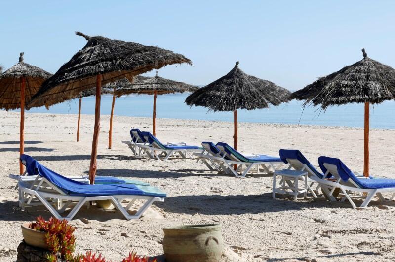 Une plage vide de Hammamet en Tunisie en pleine période de coronavirus, en mars 2020.
