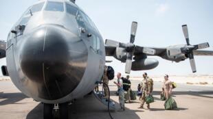 Một chiếc tiêm kích C-130 Hercules, thuộc phi đội viễn chinh 336, tại căn cứ không quân Prince Sultan, Ả Rập Xê Út, ngày 17/09/2019.