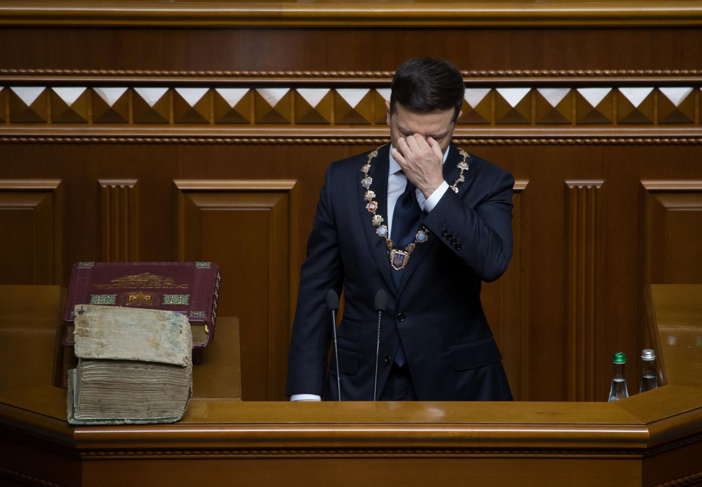 Президент Украины Владимир Зеленский во время инаугурации