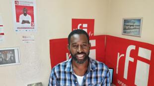 Le comédien haïtien JunJazz au studio de RFI à Port-au-Prince.