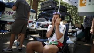 O Português Carlos Gomes de Sá, depois de ter cortado a meta, na ultramaratona Badwater