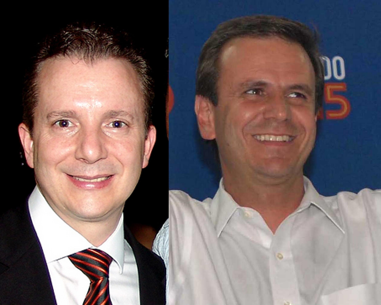 O candidato a prefeito de São Paulo, Celso Russomanno, do PRB, e, o candidato a prefeito do Rio, Eduardo Paes, do PMDB.