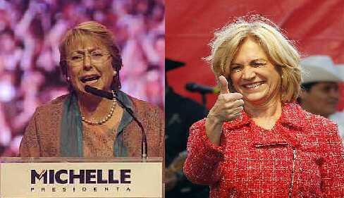 As candidatas Michelle Bachelet (à esquerda) e Evelyne Matthei.