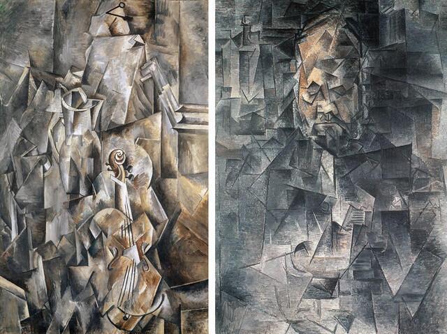 "پرتره ""Portrait d'Ambroise Vollard"", 1909-1910 اثر پابلو پیکاسو (سمت راست) طبیعت بیجان ""Broc et violon"", 1909-1910 اثر ژرژ براک"