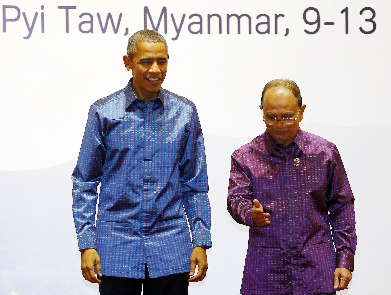 Os presidentes dos EUA e da Birmânia, Barack Obama  e Thein Sein se encontram para participar da cúpula de países asiáticos.