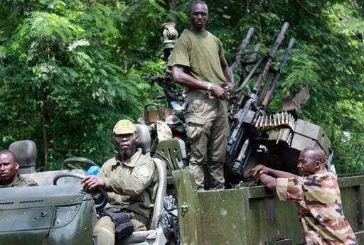 Members of Pro-Ouattara forces on Wednesday in Duékoué, in western Côte d'Ivoire