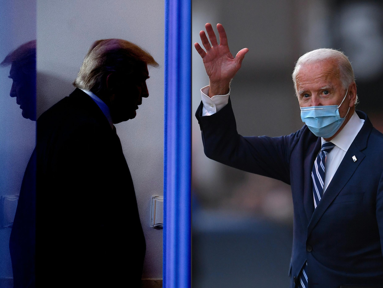 Donald Trump en la Casa Blanca el 17 de abril de 2020 y Joe Biden en Wilmington, Delaware, el 10 de noviembre de 2020