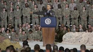 Barack Obama, sur la base de Bagram en Afghanistan.