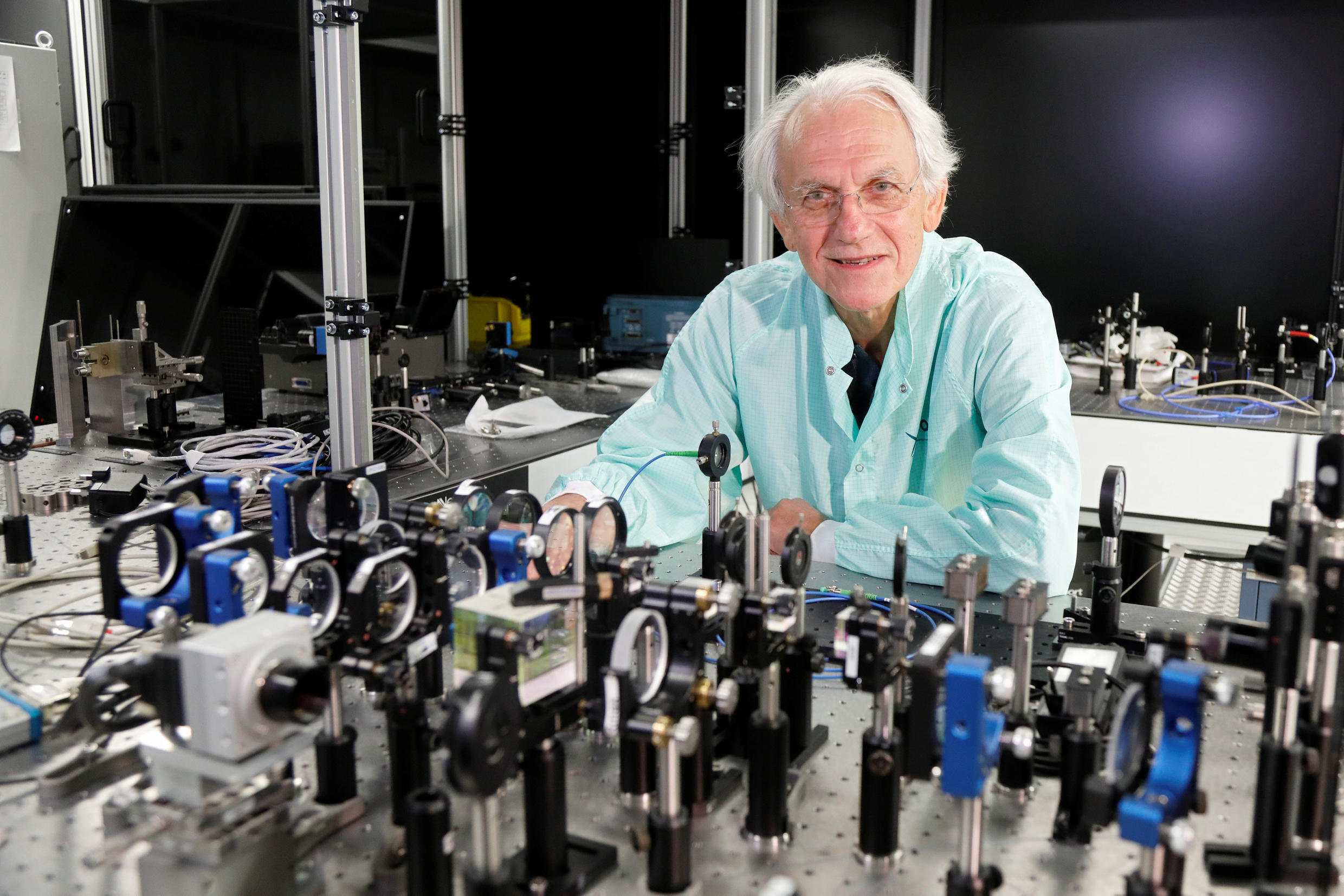 Gerard Mourou, one of three Nobel Prize laureates for physics 2018, poses in his laboratory at the Ecole Polytechnique in Palaiseau, near Paris.