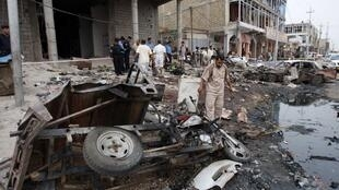 Le lieu d'un attentat à Bassorah, le 10 mai 2010.