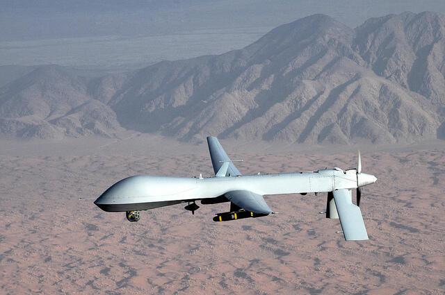 Modelo de avião teleguiado da Força Aérea Americana que utiliza tecnologia de ponta durante ataques estratégicos no Paquistão.