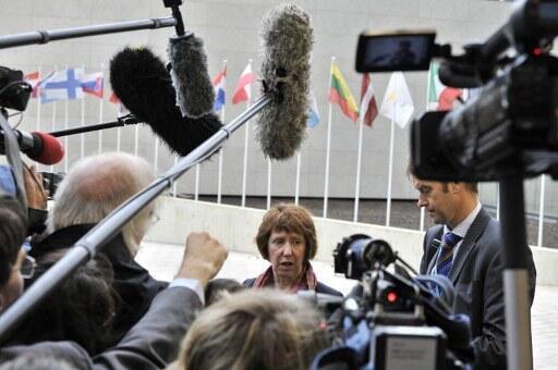 Catherine Ashton, Haut représentant de l'Union européenne pour la politique étrangère, lors d'une conférence de presse ce lundi 25 juin 2012 à Luxembourg.