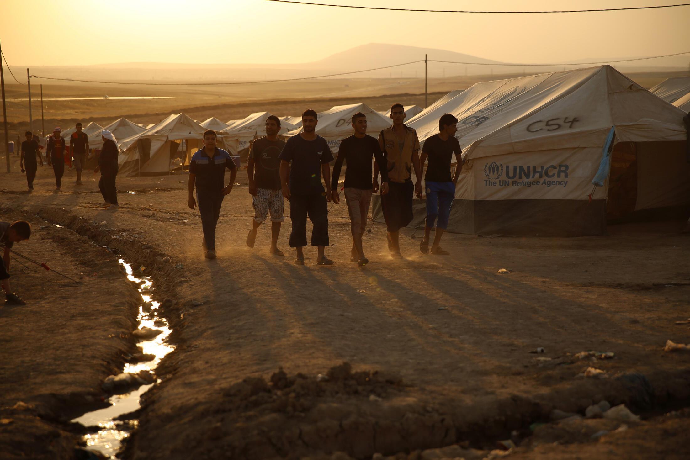 A Bagdad, beaucoup d'Irakiens pensent que l'EIIL ne peut pas compter sur l'aide de la population sur le long terme. Ici, des réfugiés près d'Arbil.
