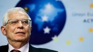 El jefe de la diplomacia europea, Josep Borrell, durante una rueda de prensa el 29 de abril de 2021 en Bruselas