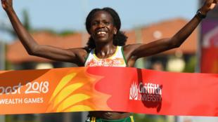 Mshindi wa Mbio za Marathon kwa upande wa Wanawake kutoka Namibia  Helalia Johannes  April 15 2018