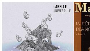 """Pochettes de l'album Labelle """"Univers-île"""" et de l'album Max Cilla """"La flûte des mornes, vol. 2""""."""