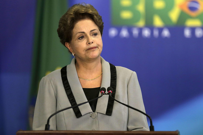 La présidente Dilma Rousseff lors d'un discours au Planalto Palace à Brasilia, le 16 mars 2015.