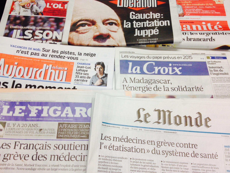 Primeiras páginas dos diários franceses de 22/12/2014
