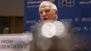 Josep Borrell habla durante una reunión sobre Siria por videoconferencia, el 30 de junio de 2020 en Bruselas