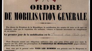 En France, l'ordre de mobilisation générale est donné le 2 août 1914.