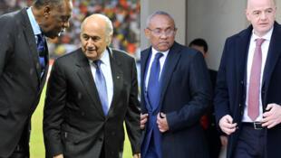 Le Camerounais Issa Hayatou avec Joseph Blatter (à gauche) et le Malgache Ahmad avec Gianni Infantino (à droite).
