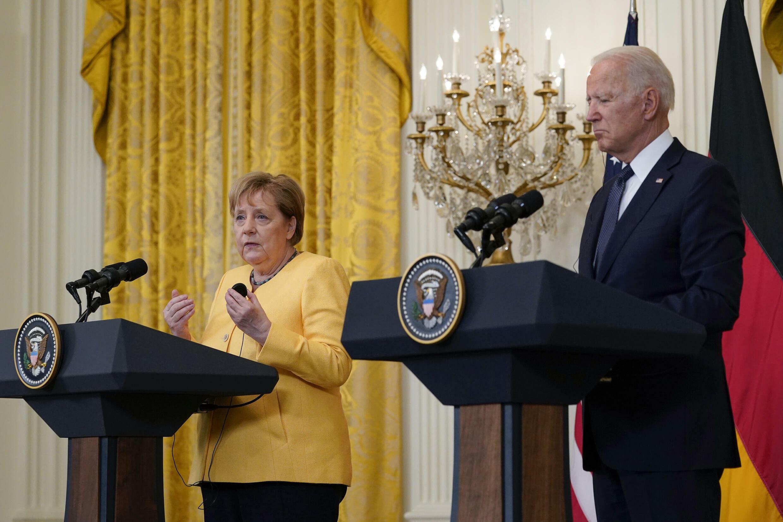 7月15日,美國總統拜登與來訪的德國總理默克爾在白宮舉行新聞發布會。