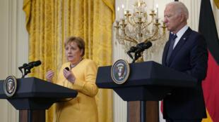 2021年7月15日,美國總統拜登與來訪的德國總理默克爾在白宮舉行新聞發布會。