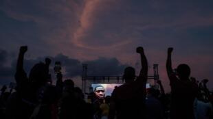 Rassemblement en hommage à George Floyd, le 8 juin 2020 à Houston.