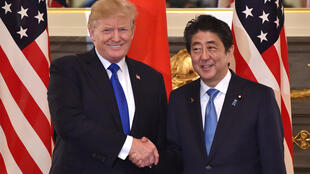 US President Donald Trump meeting Japanese Prime Minister Shinzo Abe