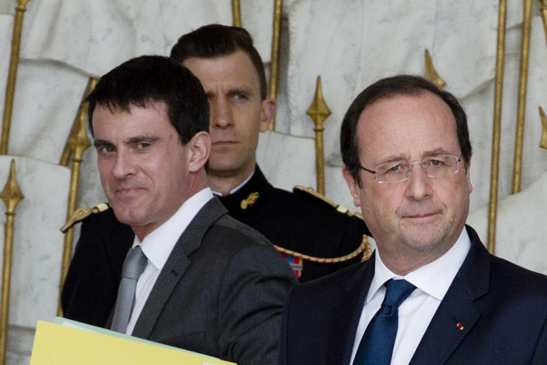 Новый премьер-министр Франции Манюэль Вальс (слева) и президент Франсуа Олланд 31 марта 2014
