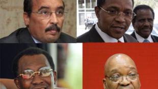 (En haut à gauche et dans le sens des aiguilles d'une montre): Mohamed Ould Abdel Aziz (Mauritanie), Jakaya Kikwete (Tanzanie), Jacob Zuma (Afrique du Sud), Idriss Déby (Tchad)