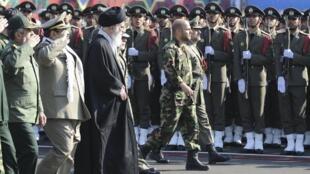 Iranian leader Ayatollah Ali Khamenei during the army land force academy graduating ceremony in Tehran