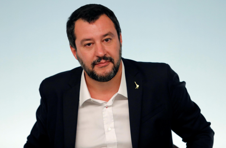 Le ministre de l'Intérieur Matteo Salvini, lors d'une conférence de presse, ce samedi 20 octobre 2018, au Palais Chigi à Rome.