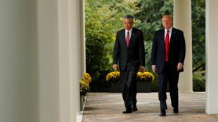 2017年10月23日,美國總統特朗普與來訪的新加坡總理李顯龍在白宮花園舉行聯合記者會。