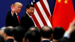 Les présidents Donald Trump et Xi Jinping, en Chine. Photo datée du 9 novembre 2017.