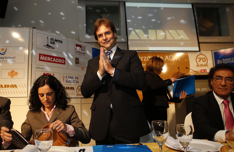 Luis Lacalle Pou, candidato a la presidencia por el Partido Nacional de Uruguay, el 8 de octubre de 2014 durante un evento de su campaña electoral.