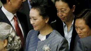 2015年9月27日中國國家主席習近平夫人彭麗媛出席在紐約聯合國總部舉行的全球婦女峰會。