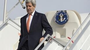 US Secretary of State John Kerry arrives at Paris Le Bourget on Saturday 7 March