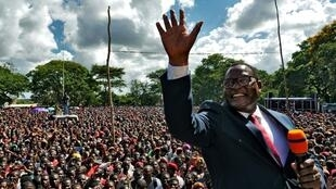 File photo of Lazarus Chakwera addressing his supporters in February 2020