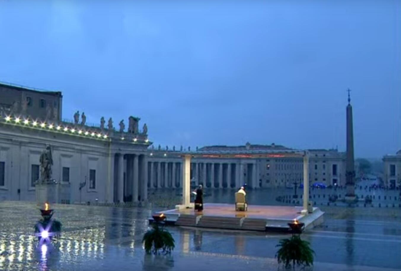 St Peter's Square was empty during Pope Francis' address as people remain on lockdown due to coronavirus.
