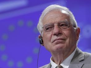 Le Haut représentant de l'union européenne pour les affaires extérieures Josep Borrell, lors d'une vidéoconférence à Bruxelles, le 22 avril 2020.